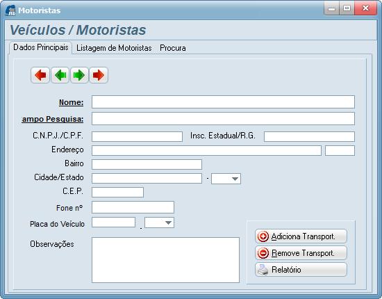 Tela 05 – Cadastro de Veículos / Motoristas